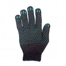 Перчатки вязаные х/б, 5 ниток с ПВХ черные