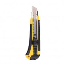 Нож строительный усиленный обрезиненный корпус 18мм + 3 запасных лезвия БИБЕР